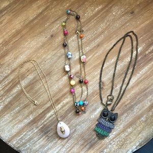 Three Necklace Bundle- Owl Theme